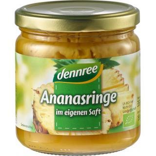 dennree Ananas-Ringe im eigenen Saft, 350 gr Glas